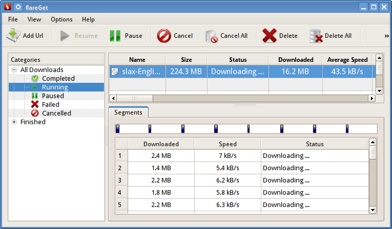 Flareget - file download manager for linux