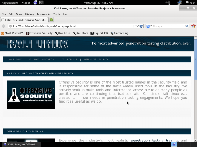 iceweasel browser on kali linux