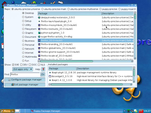 puppy linux package manager