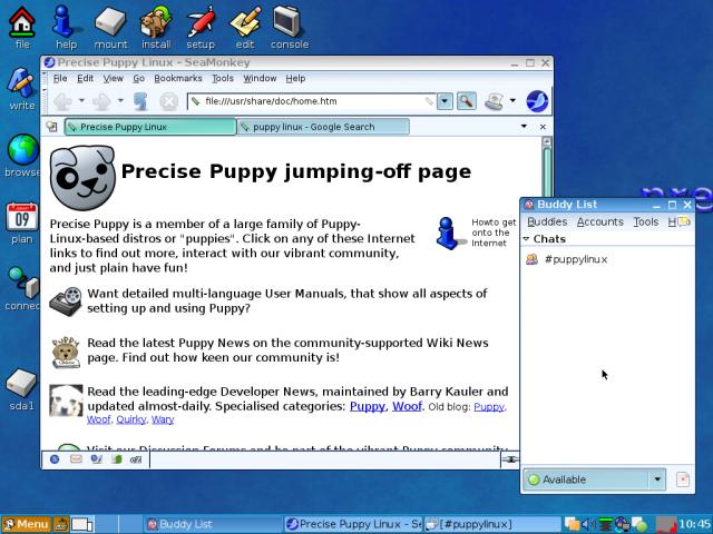 puppy linux running seamonkey and pidgin