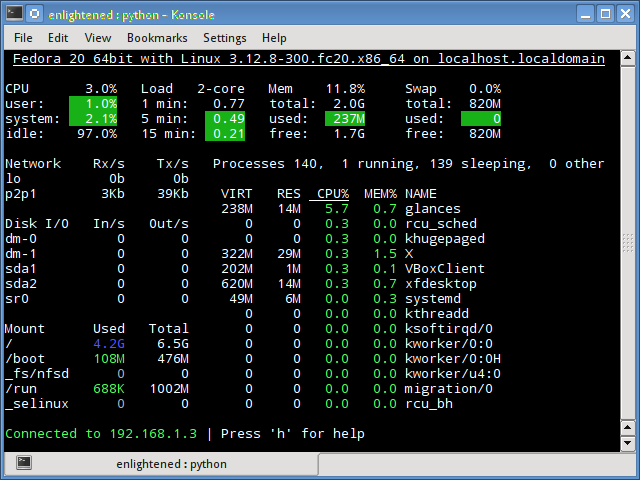 Monitor remote linux server with glances