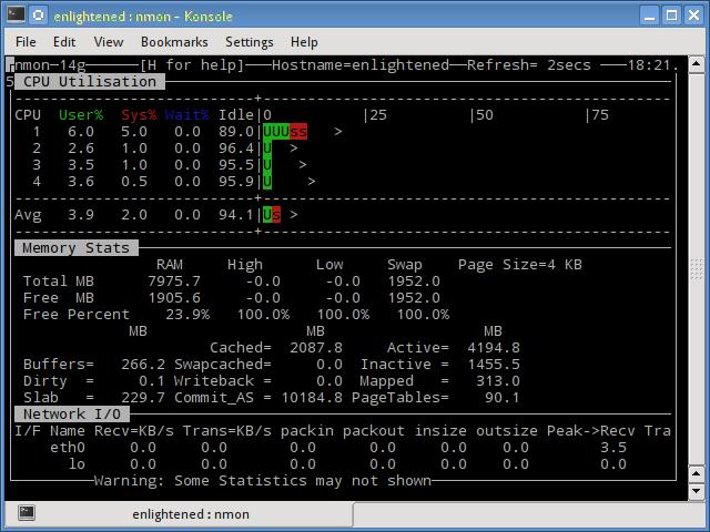 nmon cpu memory network usage