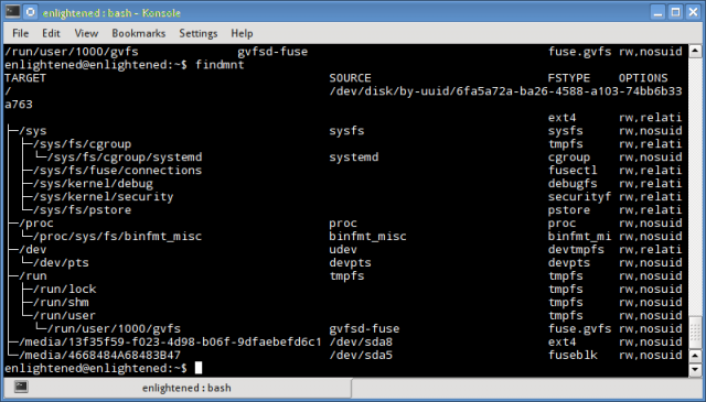 findmnt linux command