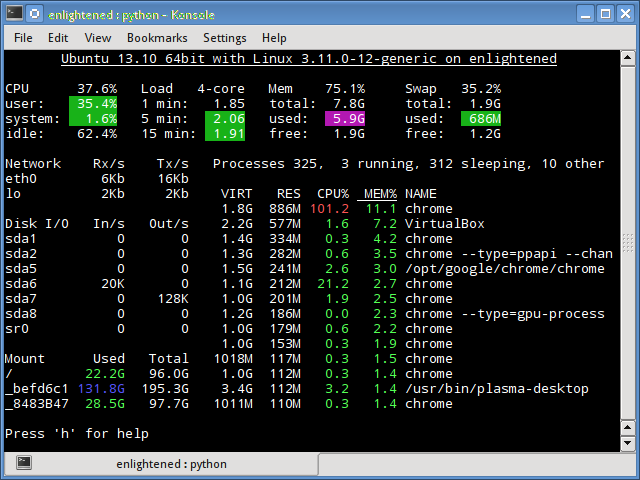 linux glances command