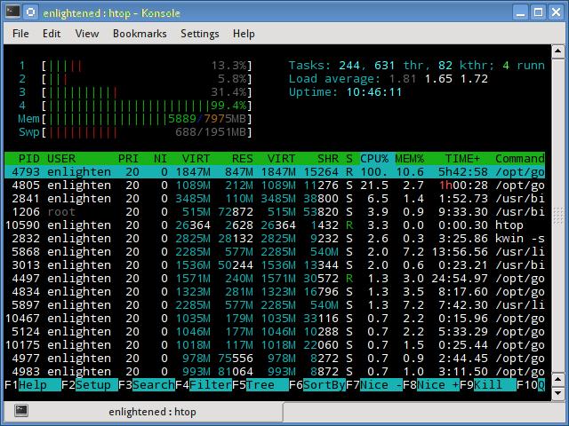 linux htop command