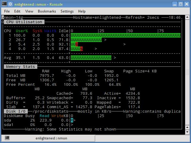linux nmon command