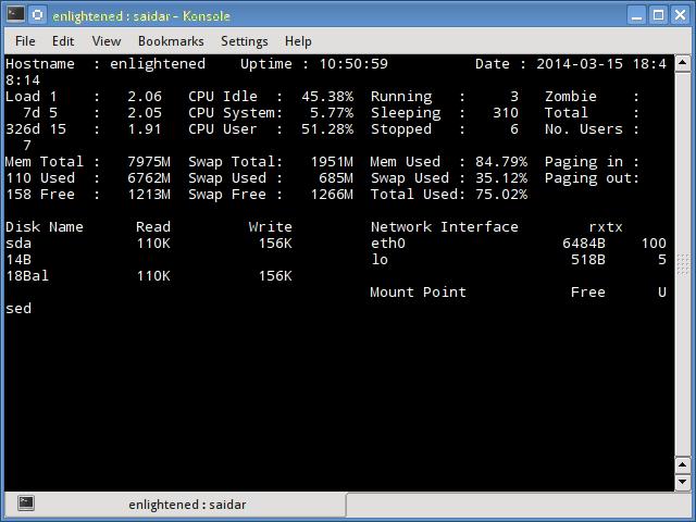 linux saidar command