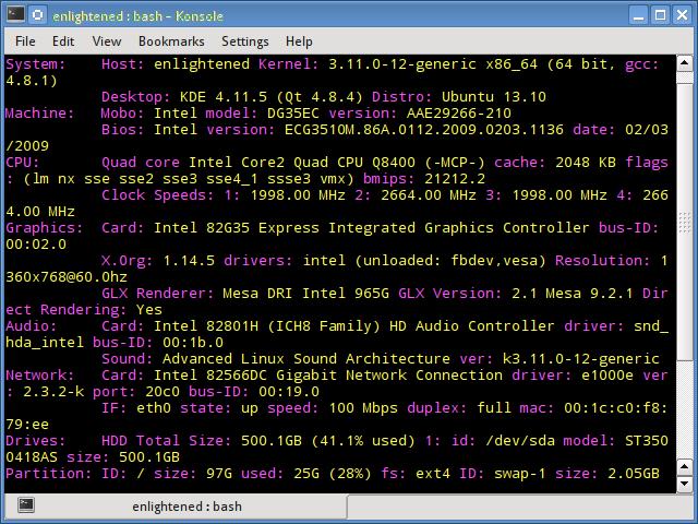 inxi linux hardware information tool