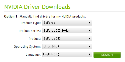 nvidia linux driver search