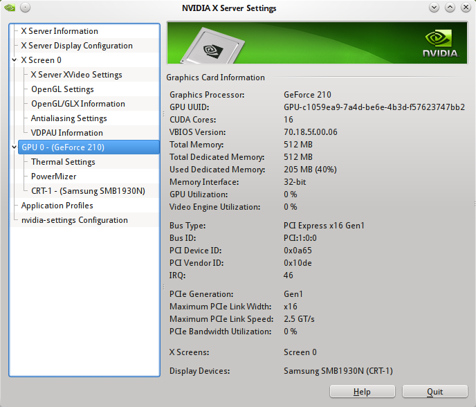 nvidia settings gpu info