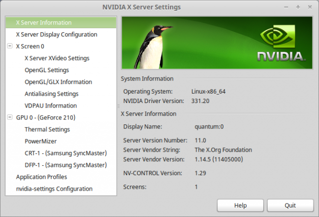 nvidia settings linux