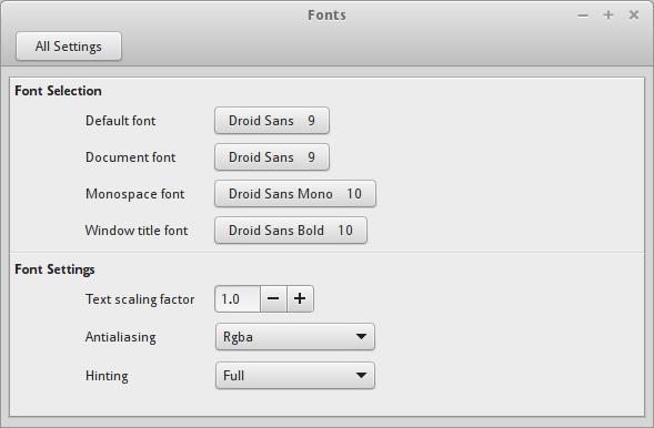 linux mint font settings