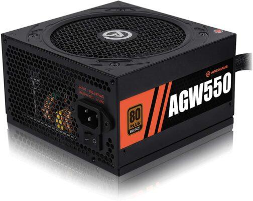 Aresgame Power Supply 550W 80 Plus Bronze Certified PSU (AGW550)