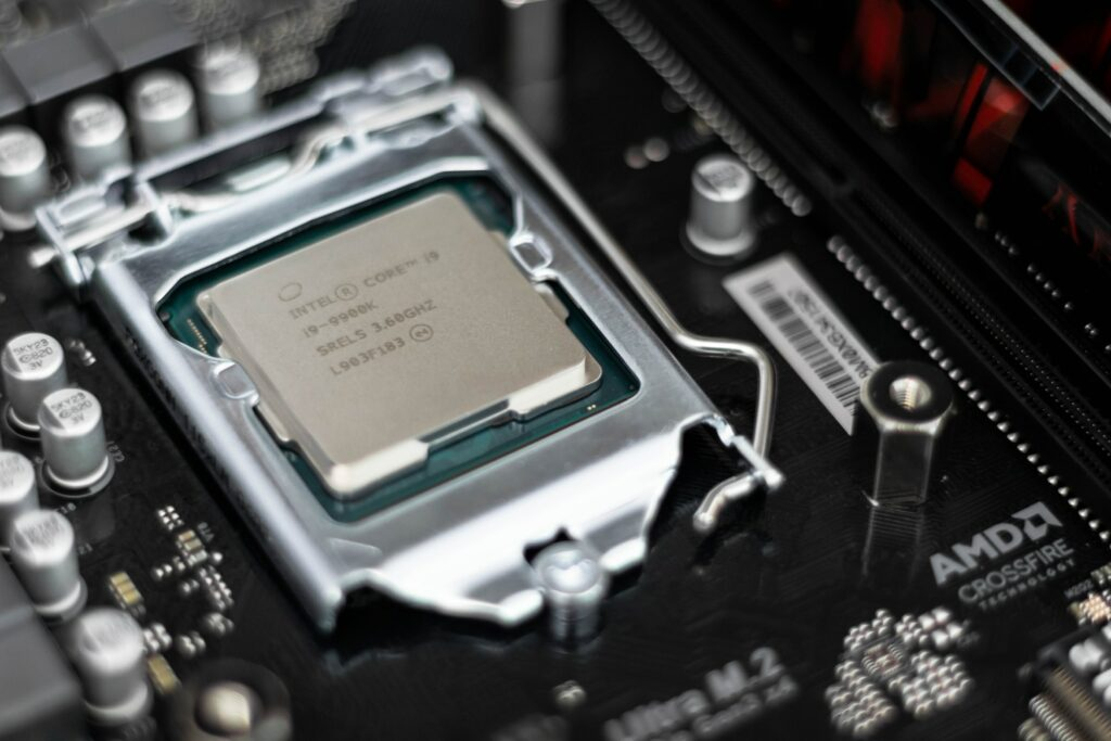 Intel CPU on black motherboard