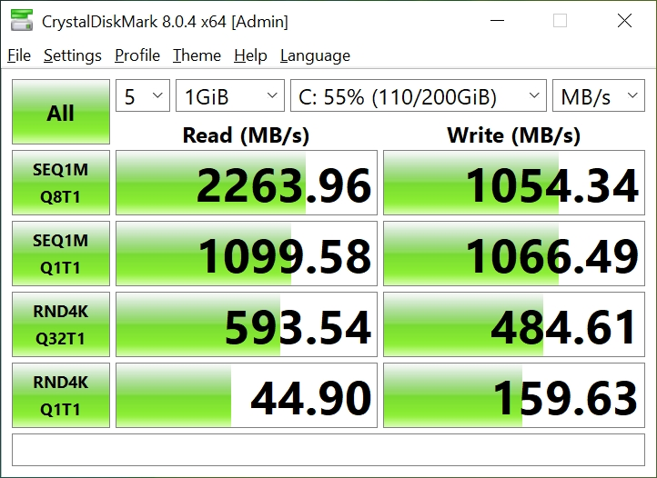 CrystalDiskMark - Acer Swift 3 SF314-59-524M