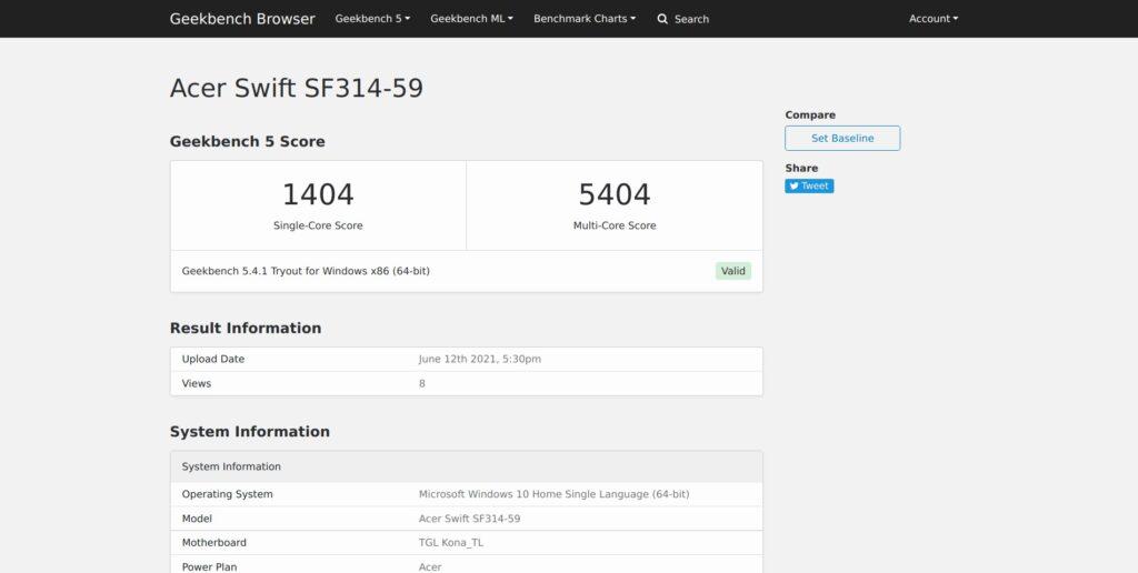 GeekBench Score - Acer Swift 3 SF314-59-524M