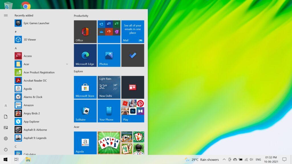 Windows 10 Start Menu Acer Swift 3 SF314-59-524M