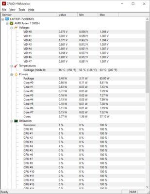 CPUID HWMonitor Temperature Asus TUF A17 FA706QM-HX008TS