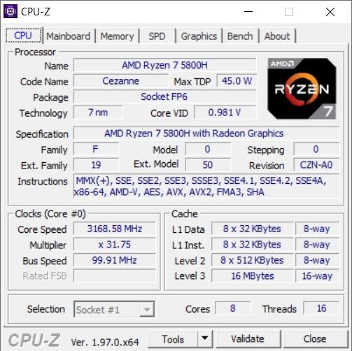 CPU-Z CPU Details Asus TUF A17 FA706QM-HX008TS