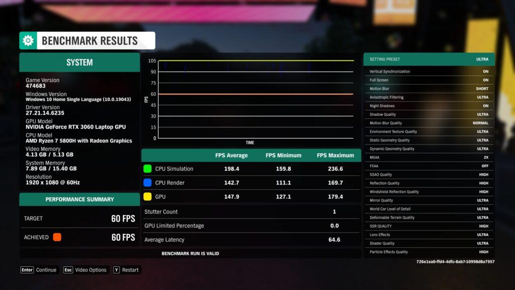 Forza Horizon 4 Benchmark Asus TUF A17 FA706QM-HX008TS